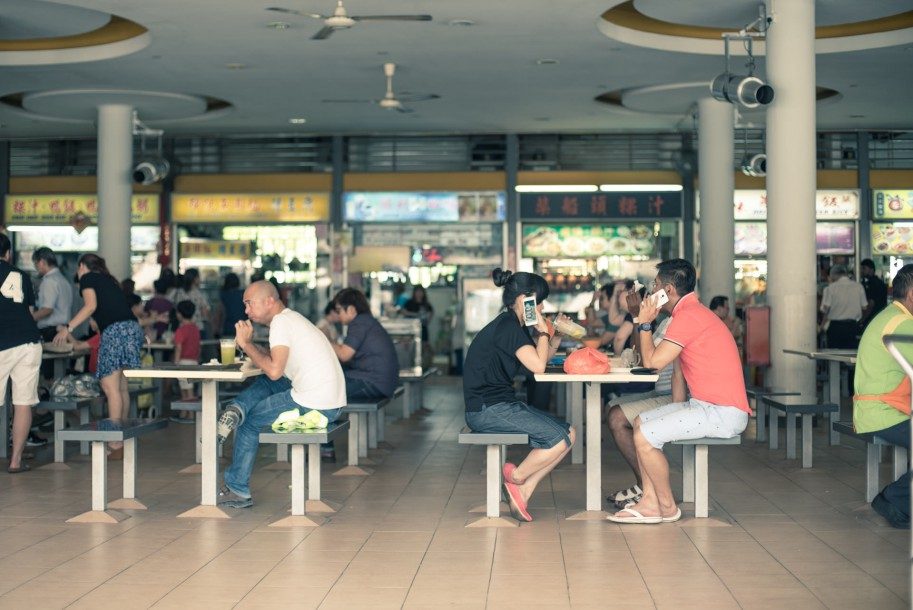 The first floor is transformed into a big hawker centre with over 80 stands