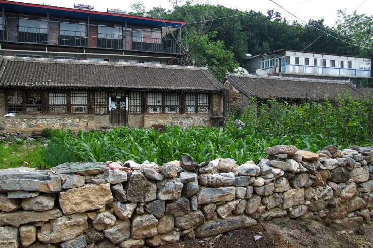 A lush greenery of the bare corn plants stretches in front of the old but charming stone houses.